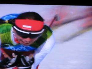 17.02  Justyna jeszcze na trasie biegu sprinterskiego