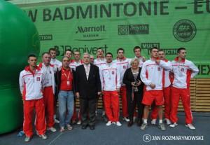 Reprezentacja Polski mężczyzn i twórcy polskiego badmintona:A.Szalewicz, J.Ślawska Szalewicz