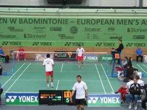 DME 2010 badminton mecz Polska -Anglia w głębi kortu P.Wacha (Pol)
