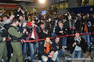 Okęcie Adam Małysz powitanie - reporterzy, dziennikarze , telewizja