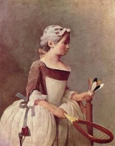 """J.B.Chardin - """"Kobieta z rakietka i lotką"""""""