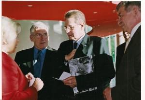 Prezydent Międzynarodowego Komitetu Olimpijskiego J.Rogge, Andrzej Szalewicz, Stanisław Stefan Paszczyk Prezes Polskiego Komitetu Olimpijskiego i Jadwiga Ślawska Szalewicz spotkanie w Warszawie rok 2004
