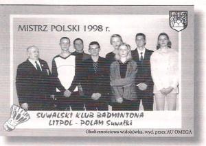 Drużyna SKB Suwałki rok 1998 drużynowy mistrz Polski