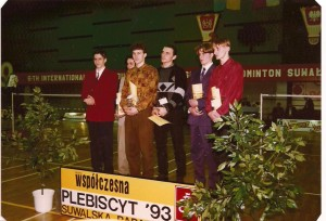 Plebiscyt na Sportowców Suwalszczyzny rok 1993 od lewej pierwszy Jacek Niedźwiedzki ostatni Artur Zbroński