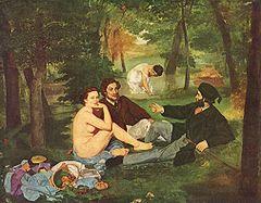 Edouard Manet (1832-1883) Śniadanie na trawie 1863 obraz wystawiony w Salonie Odrzuconych