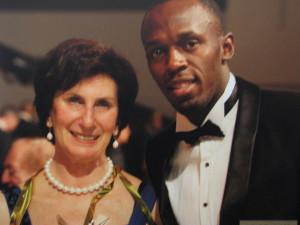 Dwie legendy lekkiej atletyki pani Irena Szewińska i Usain Bolt