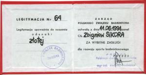 złota odznaka Polskiego Związku Badmintona dla Zb.Sikory