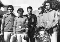 Złota drużyna floret mężczyzn Monachium  1972, od lewej Lech Koziejowski, Witold Woyda, Zbigniew Skrudlik trener, Marek Dąbrowski, Jerzy Kaczmarek