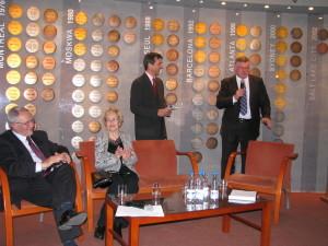Spotkanie w MSiT od lewej Kazimierz Kowalczyk prezes PZŁS, Helena Pilejczyk, Dariusz Seroczyński i Tomasz Jagodziński
