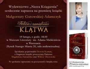 Małgorzata Gutowska-Adamczyk Fortuna i Namiętności -Klątwa zaproszenie na spotkanie w Warszawie