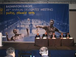 od lewej Andriej Antropow vice prezydent BEC, Brian Agerbak sekretarz, Gregory Verpoorten prezydent BEC, Joao Matos vice prezydent BEC, Murat Ozmekik  vice prezydent BEC