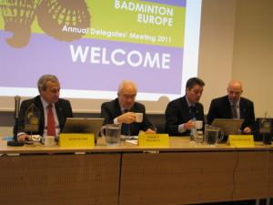 od lewej Joao Matos, Alberto Miglietta Poul-Erik Hoyer prezydent BEC , Brian Agerbak sekretarz